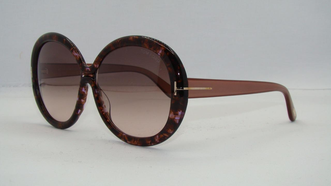 bb3359b46e Tom Ford Gisella TF 388 50F Rose Brown Havana Round Sunglasses Brown  Gradient