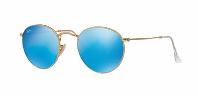32dbadf1f0 Ray Ban RB 3447 112/17 Matte Gold Round Sunglasses Blue Flash Mirror Lenses  50mm