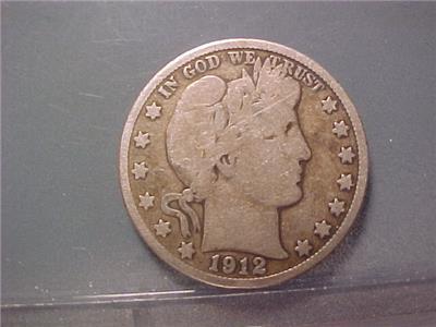 1912 D Barber Half Dollar 90/% Silver Good GD