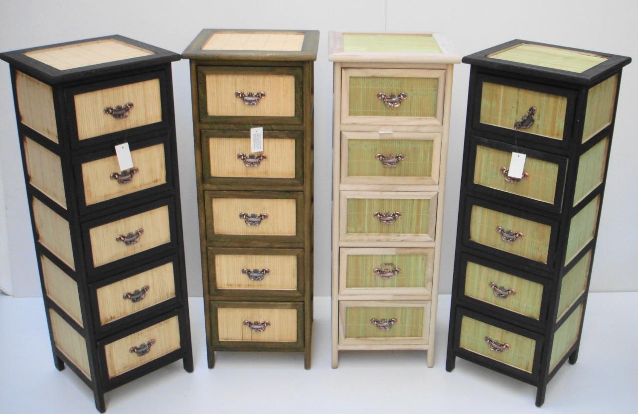 5 Draw Wicker Bathroom Living Room Storage Unit Cabinet Ebay