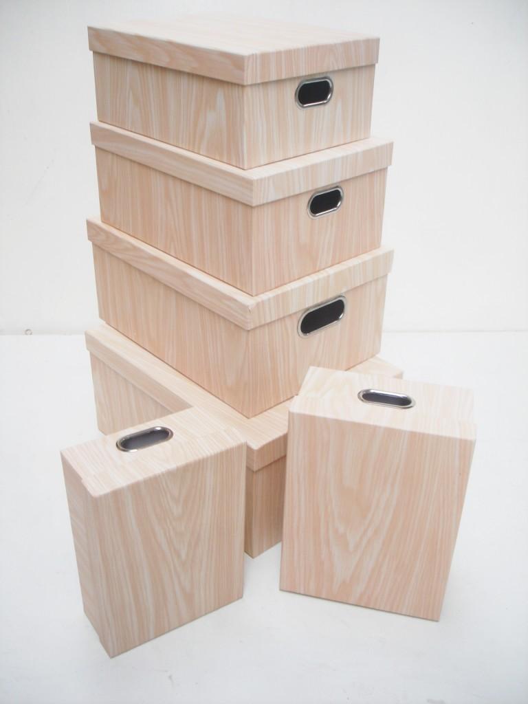 Wood Effect Kids Playroom Bedroom Storage Chest Trunk: Wood Effect Hard Cardboard Office & Bedroom A4 Paper Craft