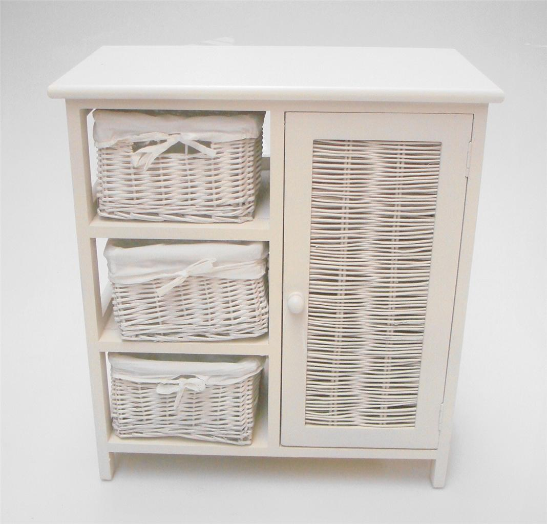White 3 chest of draws with cupboard bedside table - Small storage table for bathroom ...