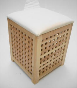 Strong Wooden Bedroom Bathroom Padded Laundry Basket