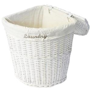 White Shabby Chic Wicker Corner Laundry Basket Bin Toilet Roll Holder  Storage