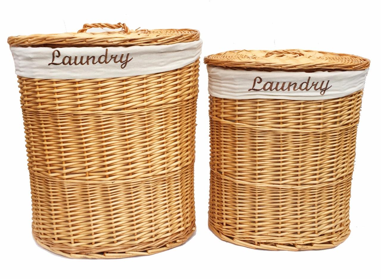 brown white black oval wicker laundry basket with lid removable cotton lining ebay. Black Bedroom Furniture Sets. Home Design Ideas