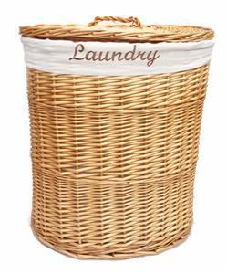 braun oder weiss oval flechtweide w schekorb mit deckel und entfernbarer cotton ebay. Black Bedroom Furniture Sets. Home Design Ideas