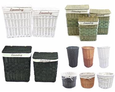 White Black Brown Wicker Rectangle Laundry Basket Bin