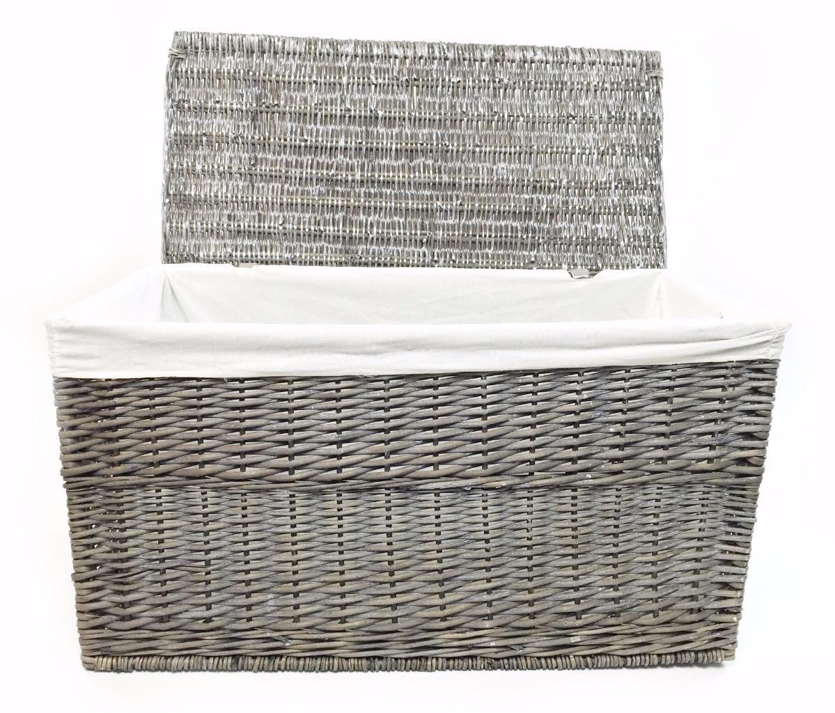 Grey Wicker Or Tapered Baby Nursery Storage Basket Chest