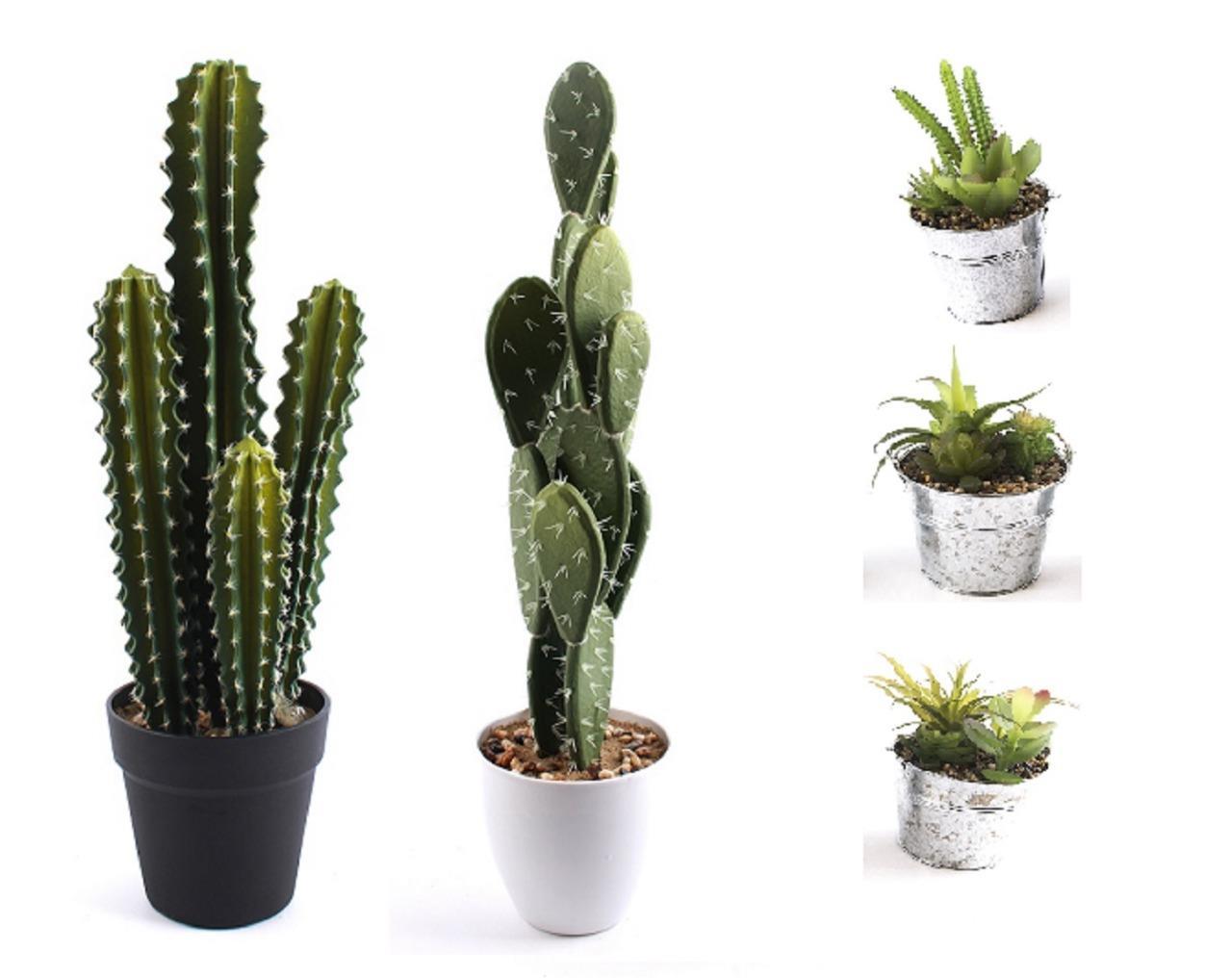 Artificial plastic realistic succulent big cactus in pot for Faux cactus ikea