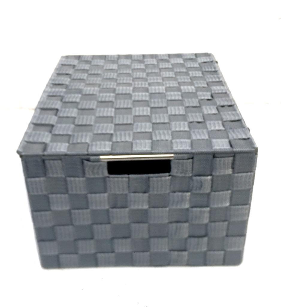 Lidded Grey White Woven Fabric A4 Paper Storage Box Hamper Basket ...