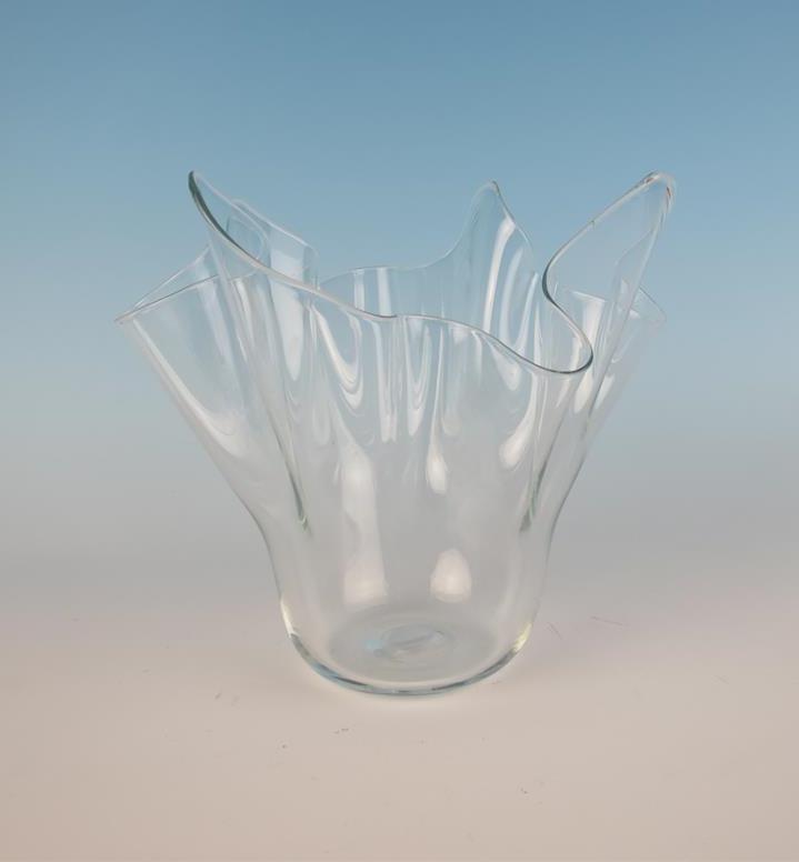 Vintage Murano Clear Fazzoletto Handkerchief Glass Vase Italian Art
