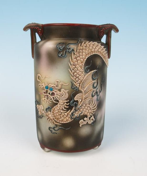 Antique Nippon Early Noritake Dragonware Vase Japan Moriage Dragon W