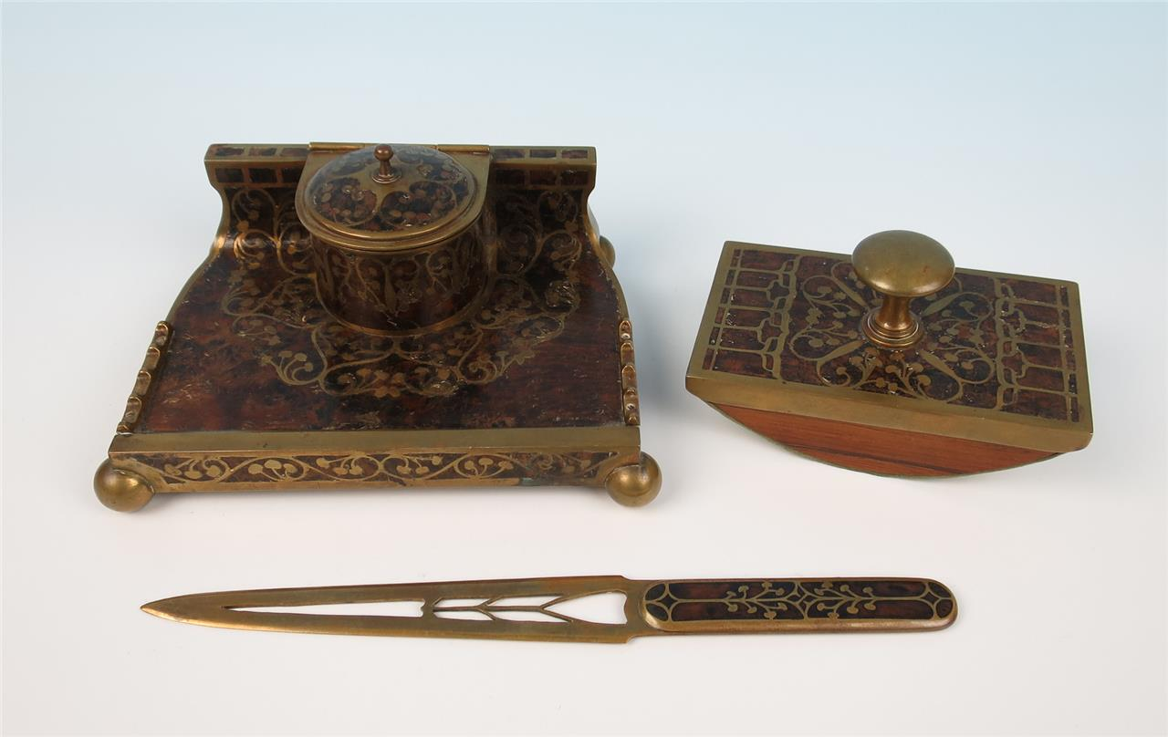 Antique Erhard Sohne Brass Inlaid Rosewood Inkwell Desk Set German Art Nouveau
