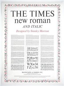 Times New Roman By Stanley Morison Type Specimen Letterpress