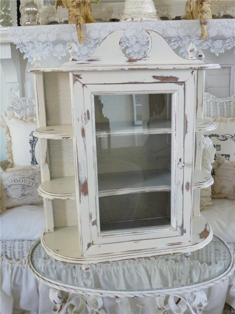 Large Vintage Country Farmhouse Wall Curio Cabinet Shelf