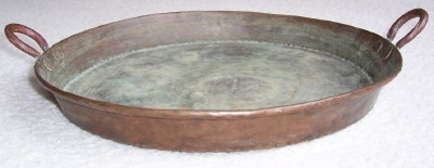 Antique Hammered Copper Rivet Serving Tray With Handles