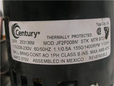 NEW AO SMITH JF2F008N' STK MTR 9721 MOTOR