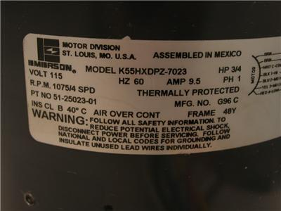 644779619_tp emerson k55hxdpz 7023 furnace blower motor 3 4hp 115v 1075rpm 4spd  at fashall.co