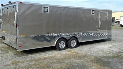 NEW 8.5 X 24 8.5X24 ENCLOSED CARGO CAR HAULER TRAILER   STAGE 2 RACE