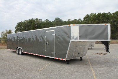 38 8.5X38 ENCLOSED GOOSENECK CARGO CAR HAULER TRAILER   V NOSE