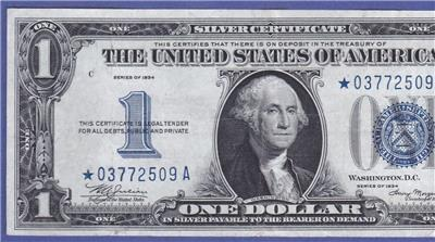 $1 1934 One Dollar Funny back SILVER Certificate Old Blue Seal Note US Currency