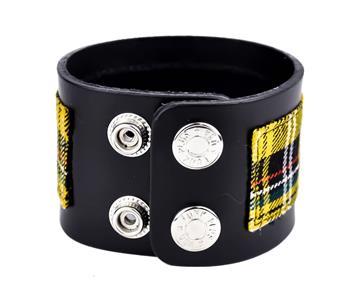 Yellow Plaid Studded Bracelet Punk Goth Metal