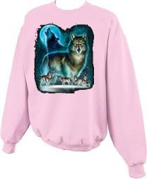 Wolf Moon Silhouette Wolves Crewneck Sweatshirt S  5x