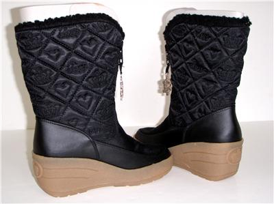 WOMENS JUICY COUTURE BLACK NYLON SHERPA SNOW BOOTS