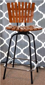 Youu0027re looking at a sweet mid century wooden slat swivel bar stool. This is very similar to an Umanoff piece this is marked Yugosolvia in the ... & Vintage Mid Century Modern Wood Slat Swivel Bar Stool Chair ... islam-shia.org