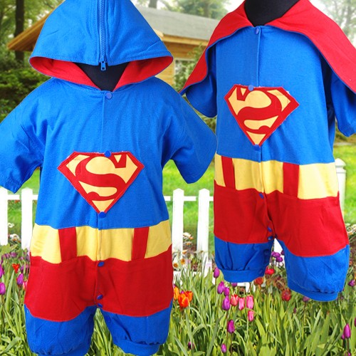 r292 baby jungen strampler superman phantasie fasching. Black Bedroom Furniture Sets. Home Design Ideas