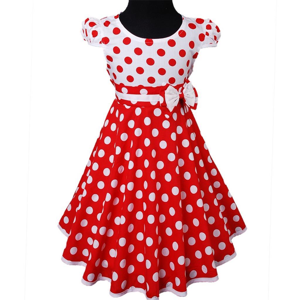 Blau / Rot /weiß Polka Punkte Dots Blume Sommer Mädchen ...