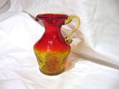 glass pitcher amberina crackle mini applied handle