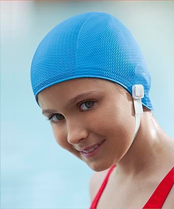 Childs Kids Swimming Hat Chin Strap Non Pull Fashy