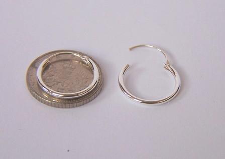 Girls 925 Sterling Silver 12mm Small Top Hinged Hoop