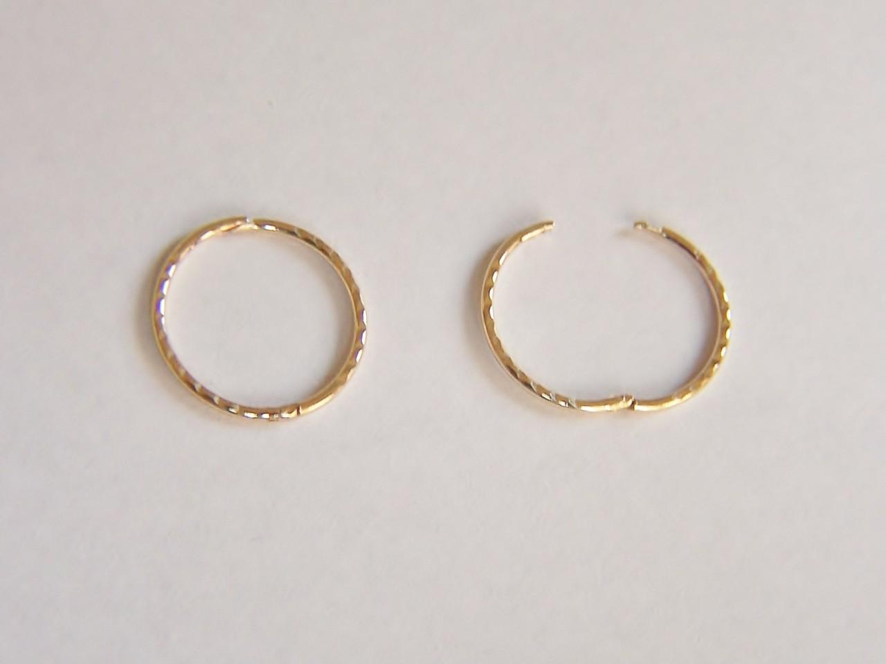 9ct Gold 13mm Small Diamond Cut Hinged Hoop Sleeper