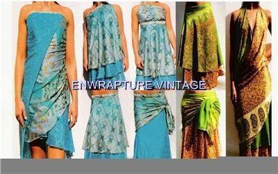 Enwrapture Vintage Bollywood Maxi Silk Wrap Magic Skirt