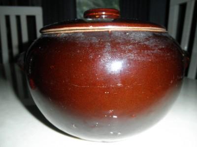 Vintage Brown Pottery Stoneware Bean Crock Casserole