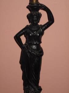 Vintage Bronze Metal Roman Greek Goddess Statue Table Lamp