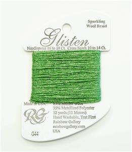 GLISTEN Sparkling Braid #44 Grass Green Needlepoint Thread by Rainbow Gallery