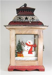Wood Glass And Metal Lantern Wiith Snowman In Winter Holiday Scene 10 5 Tall Ebay