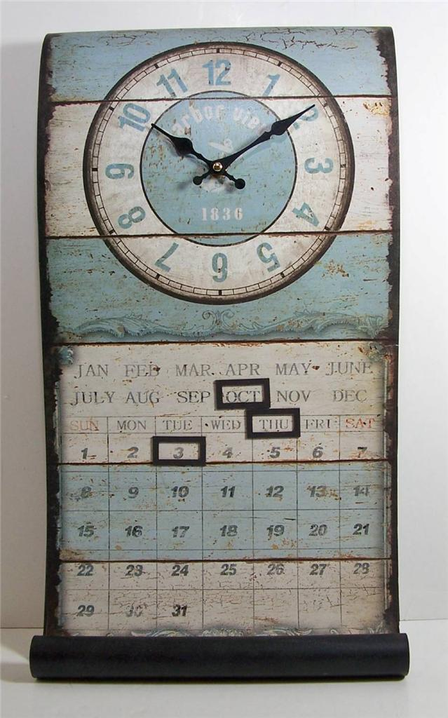 metal antique style nautical theme perpetual wall mount calendar clock 12x21 5 ebay