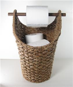 braided rope basket toilet paper holder rustic country style bathroom storage ebay. Black Bedroom Furniture Sets. Home Design Ideas