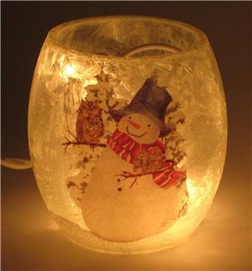 "Snowman Winter Scene Luminaries Set 2 Frosted Glass Jar Vase  3/"" x 3/"" Holiday"