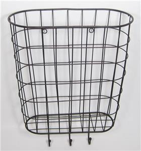 metal wire basket wall pocket organizer with 3 hooks home office 807472994352 ebay. Black Bedroom Furniture Sets. Home Design Ideas