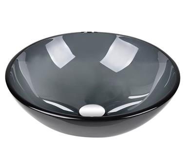 Elecwish Tempered Glass Circular Vessel Bathroom Sink Usbg003 Sink Gray Ebay