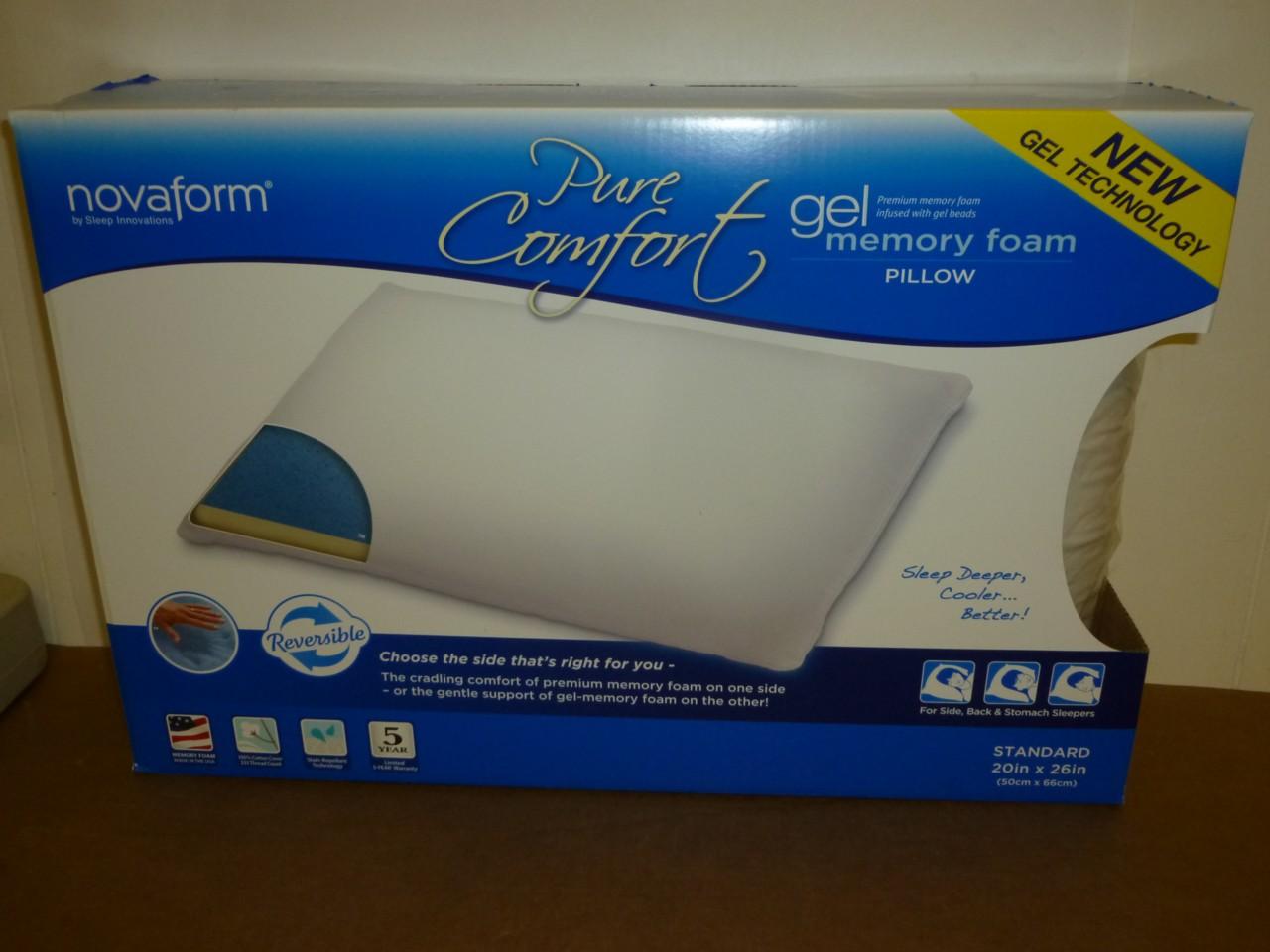 New Novaform Pure Comfort Memory Foam Gel Pillow Ebay