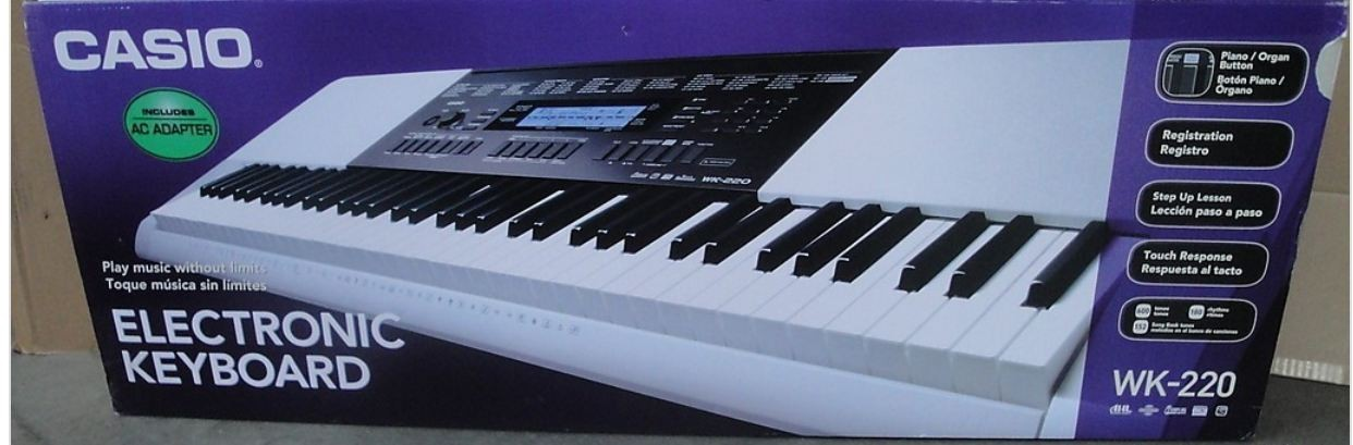 new casio wk 220 keyboard 76 touch sensitive keys with stand ebay. Black Bedroom Furniture Sets. Home Design Ideas
