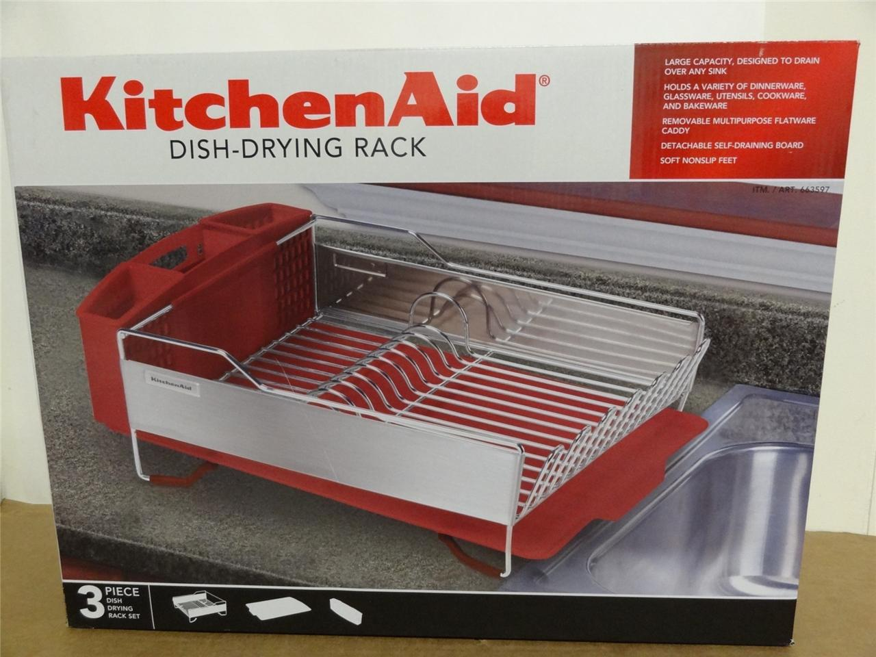 new kitchenaid dish drying rack 3 piece red dish drainer. Black Bedroom Furniture Sets. Home Design Ideas