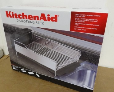 new kitchenaid dish drying rack 3 piece black and stainless steel dish drainer ebay. Black Bedroom Furniture Sets. Home Design Ideas