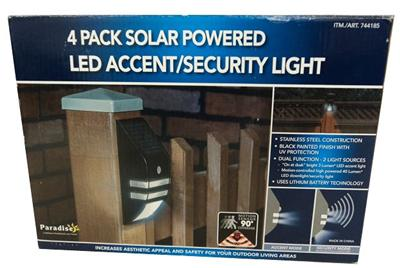 New Paradise 4 Pack Solar Powered Led Accent Lights With